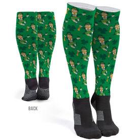 Running Printed Knee-High Socks - Leprechaun