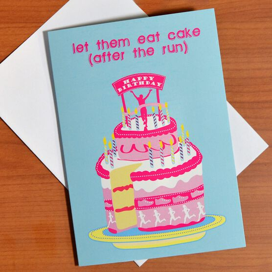 Images Runners Happy Birthday Cake Greeting Card