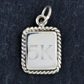 Sterling Silver Rectangular Framed Charm 5K