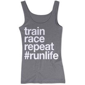 Women's Athletic Tank Top - Train Race Repeat