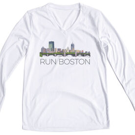 Running Women's Customized White Long Sleeve Tech Tee - Boston Sketch