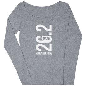 Women's Runner Scoop Neck Long Sleeve Tee - Philadelphia 26.2 Vertical