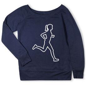 Running Fleece Wide Neck Sweatshirt - Female Runner Outline