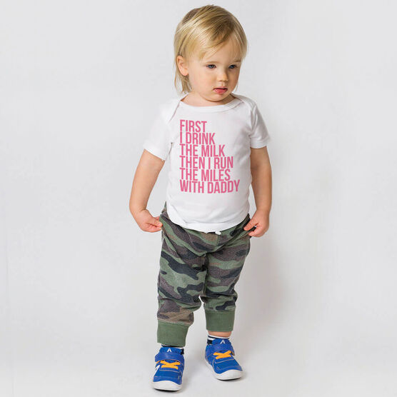 Running Baby T-Shirt - Then I Run The Miles With Daddy