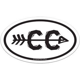 Cross Country Arrow Car Magnet - White