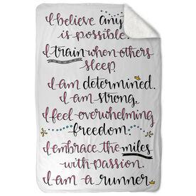 Running Sherpa Fleece Blanket - I Am A Runner