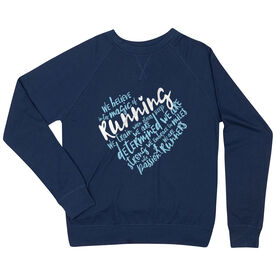 Running Raglan Crew Neck Sweatshirt - Live Love Run Heart