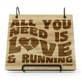 Engraved Bamboo Wood BibFOLIO® Race Bib Album - All You Need Is Love And Running