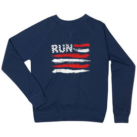 Running Raglan Crew Neck Sweatshirt - Run Red White and Blue Flag
