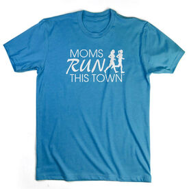 Running Short Sleeve T-Shirt - Moms Run This Town Logo (White)