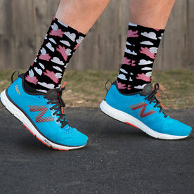 Running Printed Mid-Calf Socks - Flying Pigs