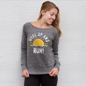 Running Fleece Wide Neck Sweatshirt - Wake Up And Run
