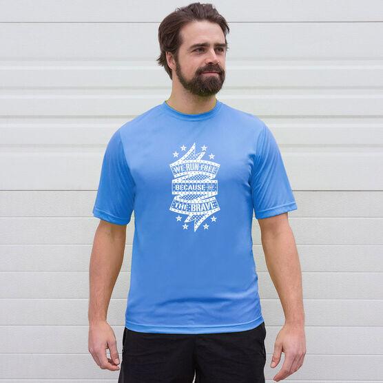 Men's Running Short Sleeve Tech Tee - We Run Free Because Of The Brave