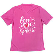 Women's Short Sleeve Tech Tee - Free To Run And Sparkle