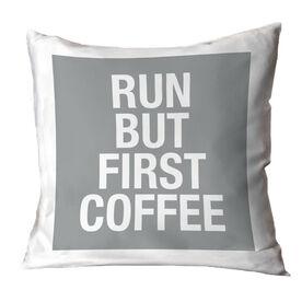 Running Throw Pillow - Run But First Coffee