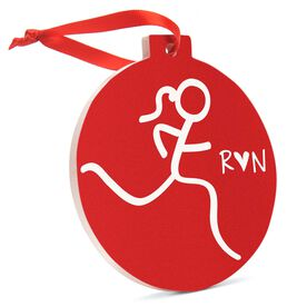 Running Round Ceramic Ornament - Run Girl Stick Figure