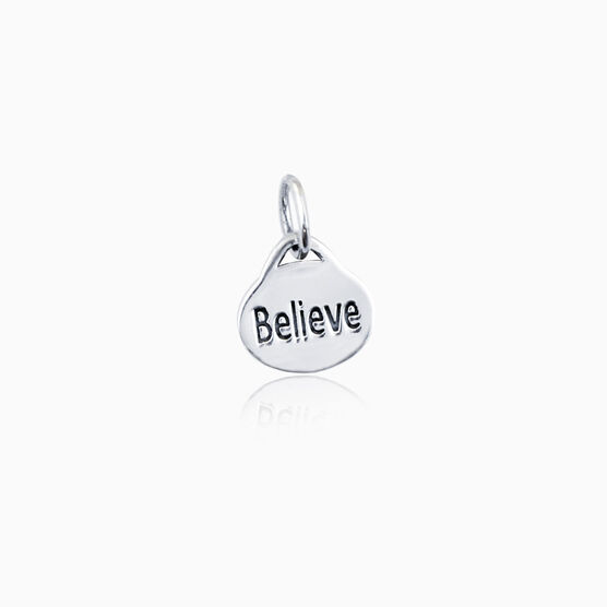 Sterling Silver Believe Oval Charm