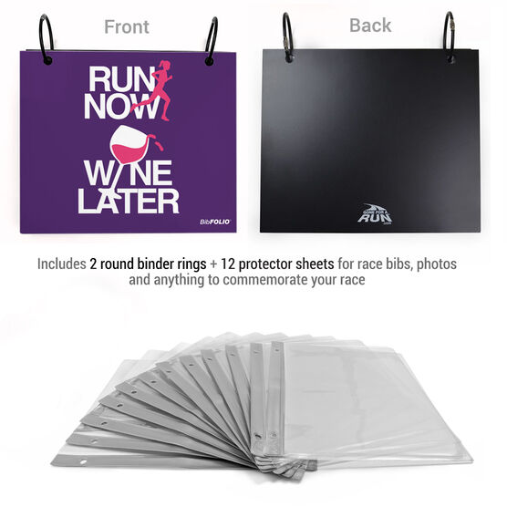 BibFOLIO® Race Bib Album - Run Now Wine Later
