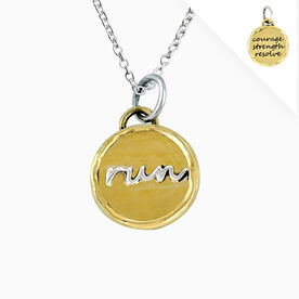 Livia Collection Brass & Sterling Silver Run Token Necklace