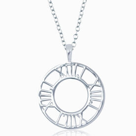 Sterling Silver 13.1 Circle Pendant Runner Necklace