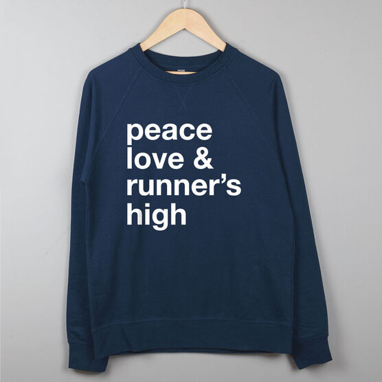 Running Raglan Crew Neck Sweatshirt - Peace Love & Runner's High