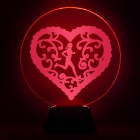 Running Acrylic LED Lamp Filigree Heart