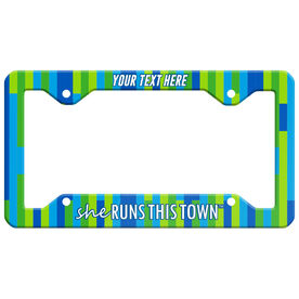 Running License Plate Holder - She Runs This Town Block Pattern