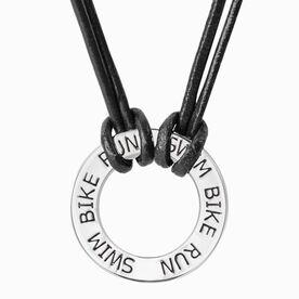 Triathlon Message Ring Cord Necklace