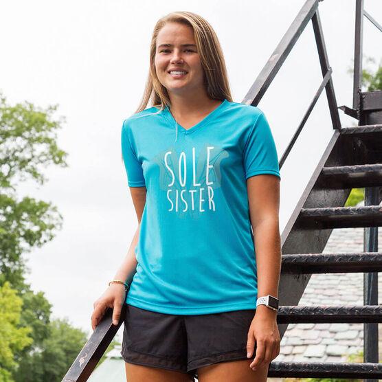 Women's Running Short Sleeve Tech Tee Sole Sister Shoe Heart