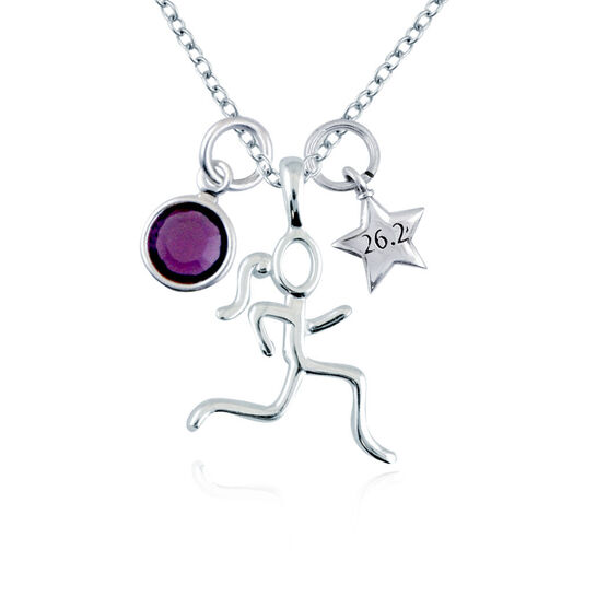 Sterling Silver Stick Figure Runner with Sterling Silver 26.2 Star Necklace