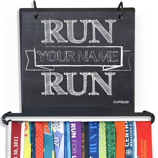 BibFOLIO+™ Race Bib and Medal Display Chalkboard Run Your Name Run