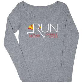 Women's Runner Scoop Neck Long Sleeve Tee - Let's Run Now Gobble Later
