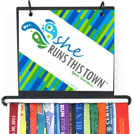 BibFOLIO+™ Race Bib and Medal Display - She Runs This Town Logo Block Pattern