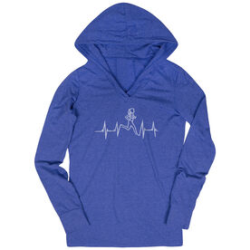 Womens Running Lightweight Performance Hoodie Heart Beat Female Runner