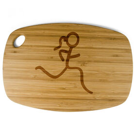 Rectangle Laser Engraved Bamboo Cutting Board Stick Figure