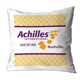 Running Throw Pillow - Achilles International - Nashville Logo