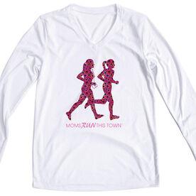 Women's Running Long Sleeve Tech Tee - Moms Run This Town Poppy Runners