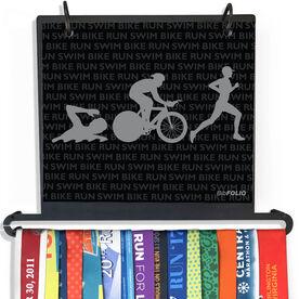 BibFOLIO+™ Race Bib and Medal Display - Swim Bike Run Repeat Guys