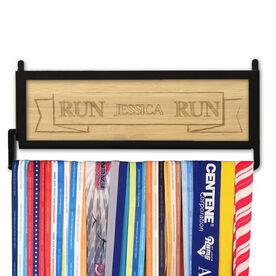 RunnersWALL Engraved Bamboo Medal Display Run Your Name Run