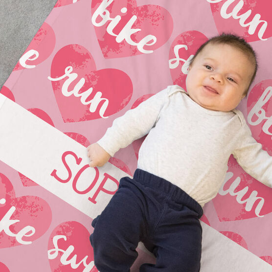 Triathlon Baby Blanket - Swim Bike Run Watercolor Hearts