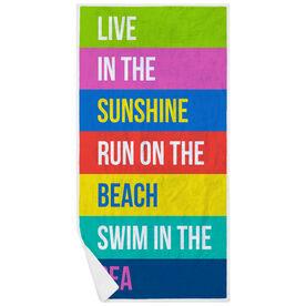 Running Premium Beach Towel - Live In The Sunshine Run On The Beach Swim In The Sea