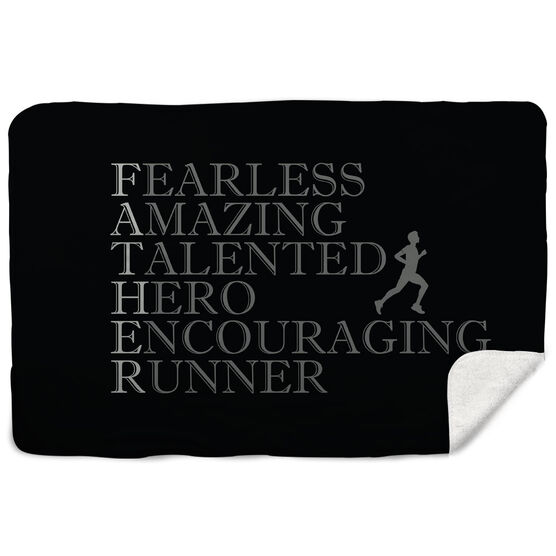 Running Sherpa Fleece Blanket - Father Words