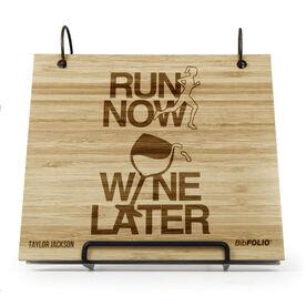 Engraved Bamboo Wood BibFOLIO Run Now Wine Later