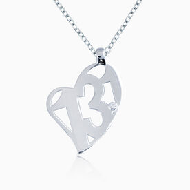 Sterling Silver 13.1 Half Marathon Heart Pendant with Cubic Zirconia Stone Necklace