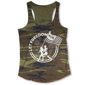 Running Camouflage Racerback Tank Top - Let Freedom Run