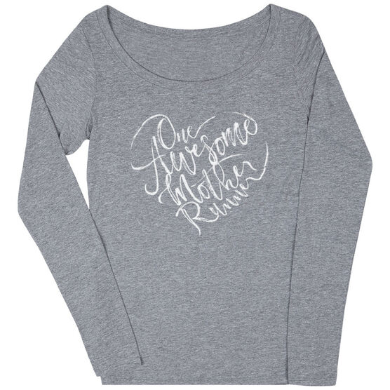 Women's Runner Scoop Neck Long Sleeve Tee - One Awesome Mother Runner