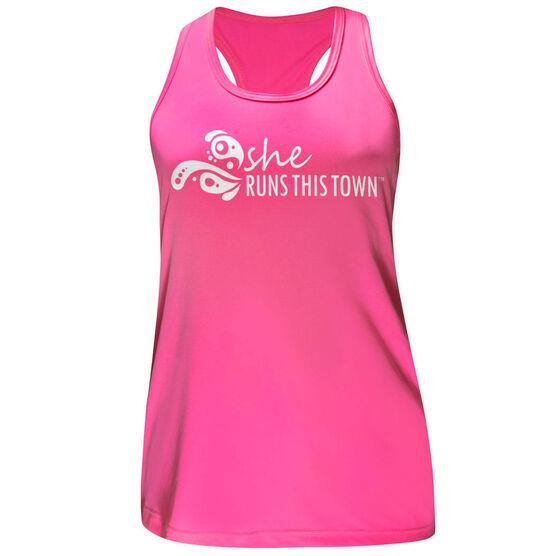 Women's Performance Tank Top - She Runs This Town Logo (White)