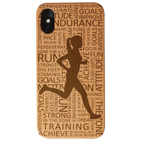 Running Engraved Wood IPhone® Case - Inspirational Words Female