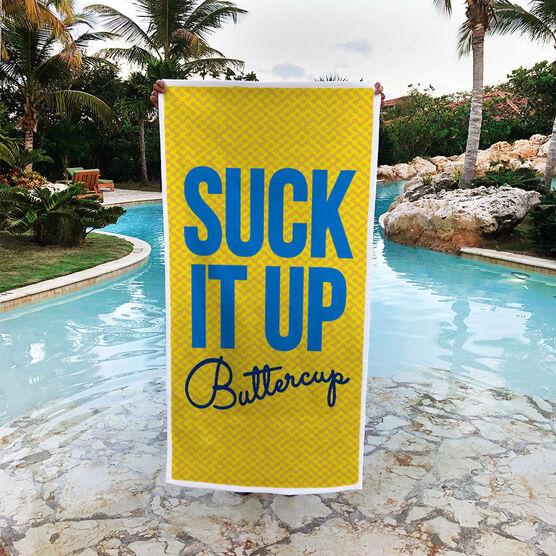 Running Premium Beach Towel - Suck It Up Buttercup