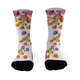 Running Printed Mid Calf Socks Candy Hearts Run
